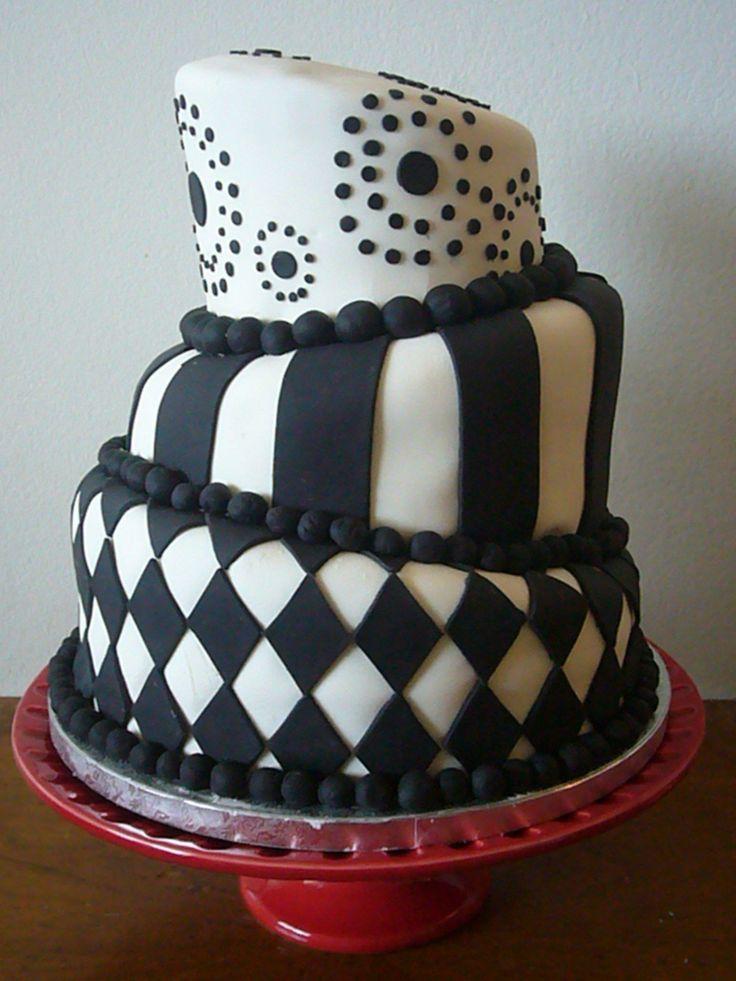 Topsy Turvy Black And White Cake   Cake, White cake, Butter cream