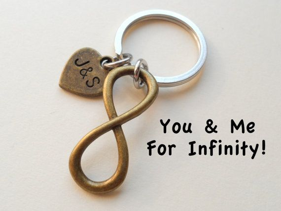 bronze infinity symbol keychain gift couples by jewelryeveryday boyfriend best friendgift for girlfriend8 year anniversary giftwedding
