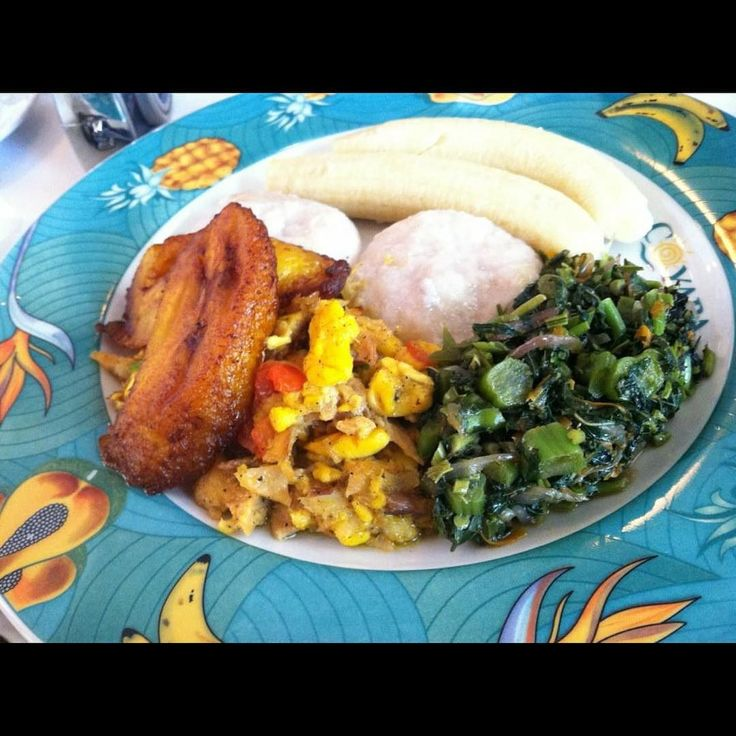 this is the authentic jamaican breakfast boiled green
