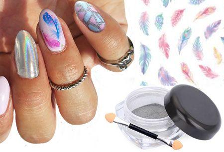 Nagelstickers + holographic glitter poeder   De mooiste versieringen voor je nagels