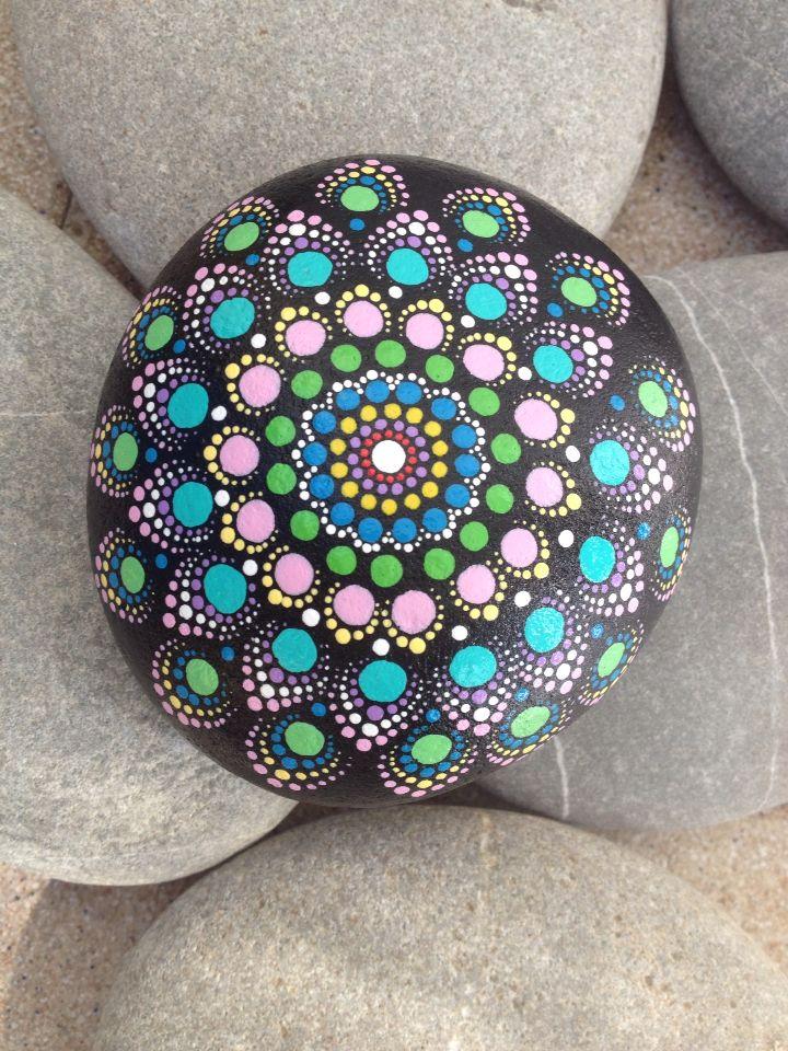 painted stone mandala dots