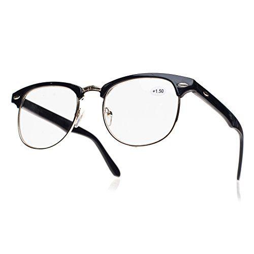 NEW UNISEX (Damen Herren) Retro schwarz Lesebrille Brille WAYFARER Clubmaster Morefaz(TM) (Lesebrille + 1.5 retro schwarz)