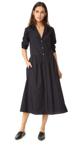 Vince Платье-рубашка с мелкими сборками