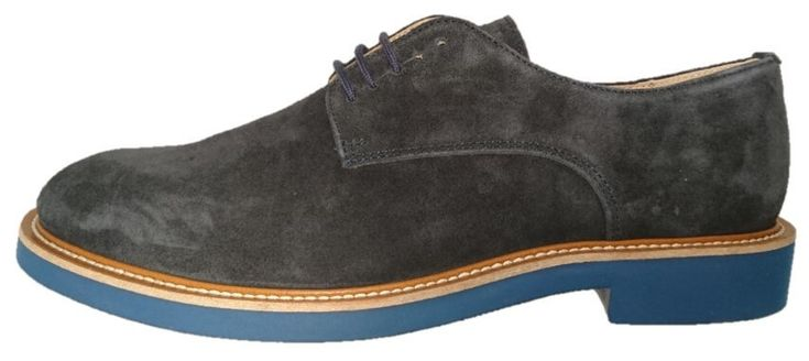 Italian blue suede derby shoes for men by Frau. Buy it 109,00 €