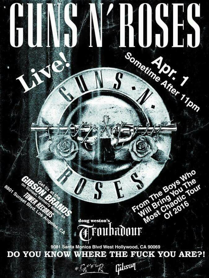GnR first gig poster in 23 years