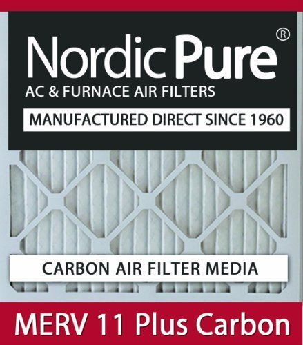10x20x2 Nordic Pure MERV 11 Plus Carbon Air Filters Qty 6 by Nordic Pure. $102.00. Carbon Air Filter deodorizes and absorbs odor and household smells!. MERV 11 Plus Carbon Air Filter- Dual Media in one convenient air filter!. 30-day Money-Back Satisfaction Guarantee!. Actual Size of Filter: 9 1/2 x 19 1/2 x 1¾. Free Shipping in the Continential USA!. Nordic Pure is now offering MERV Plus Carbon air filters. The electrostatic MERV Plus Carbon air conditioning filter has ...