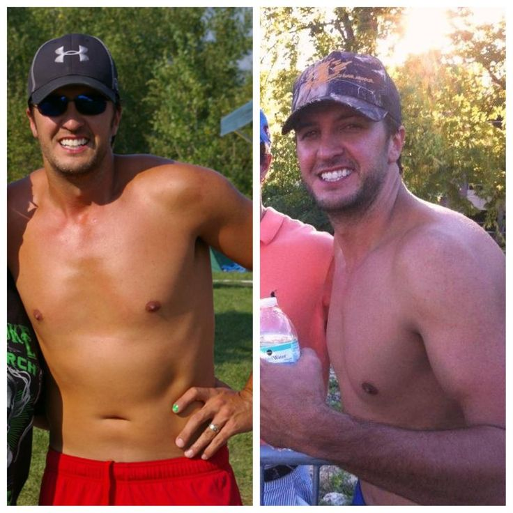 2 pictures of Luke Bryan lookin' smokin' hot shirtless? In the same image? Mind=blown