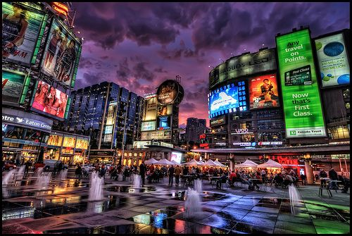 Dundas Square Toronto, Canada. I know I live here and have seen this during the day....but it looks awesome at nite!!!!!