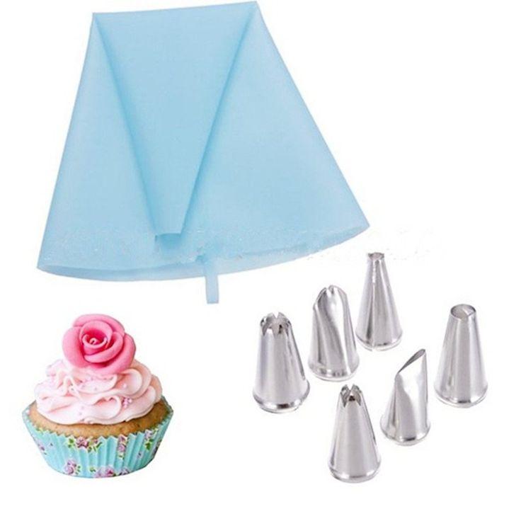 Très utile et pratique set de poche à douille en silicone avec 6 pièces de douilles en inox !