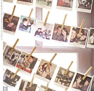 Photobooth with a line to hang photos from. Pics become decor!