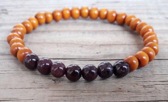 Yoga wood bead bracelet garnet stone bracelet garnet and wood