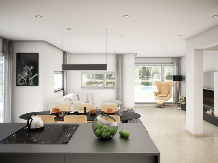 Inneneinrichtung Wohnzimmer Grau Mit Offener Küche Und Kochinsel   Haus  Concept M 166 Bien Zenker