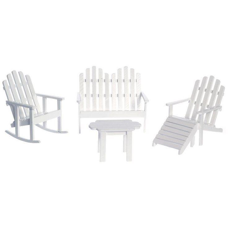 White Adirondack Furniture Dollhouse Miniature Set - T0536