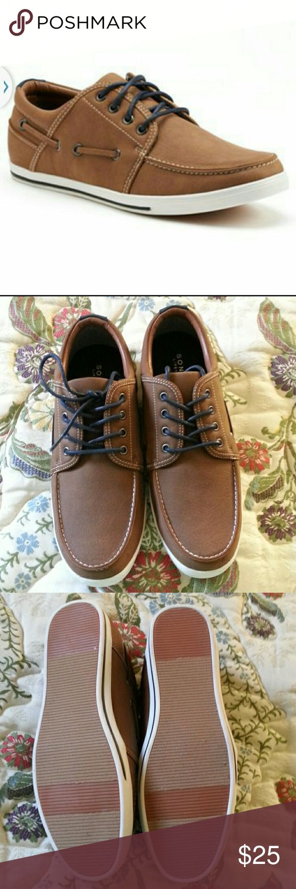 Men's Sonoma brown boat shoes 11 Men's Sonoma brown boat shoes size 11 , never worn ! Brown upper , blue laces . Sonoma Shoes Boat Shoes