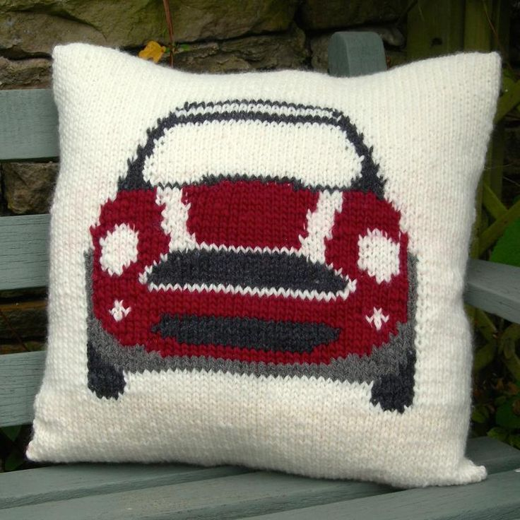 Mini Cooper Knitted Cushion Cover via Craftsy