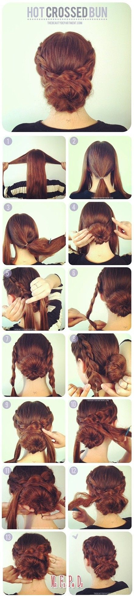 Hot Crossed Bun. Easy to do center bun with two side braids, loosened then pinned in around bun. 13 step photo tutorial.