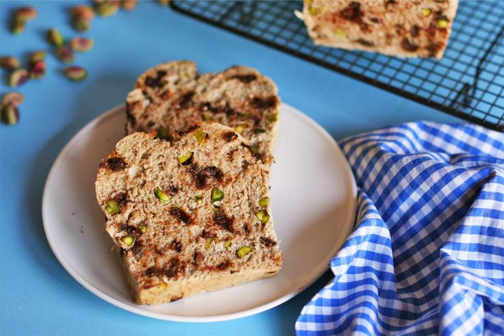 Loaf bread with natural pistachios and dark chocolate chips. Perfect ...