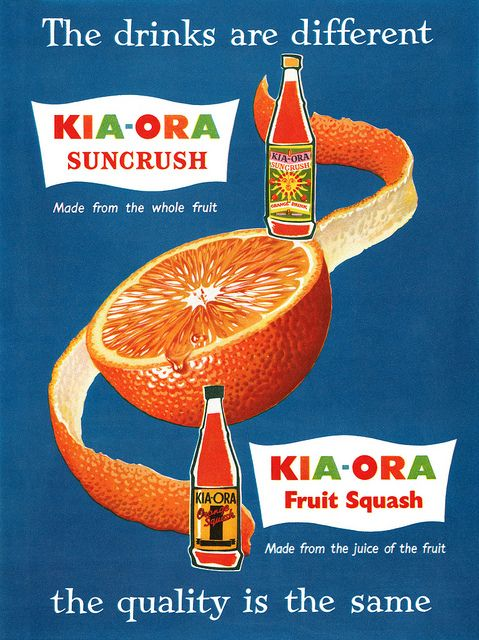 1950s ad for a UK brand of orange squash soda. #drinks #vintage #ad #food #1950s
