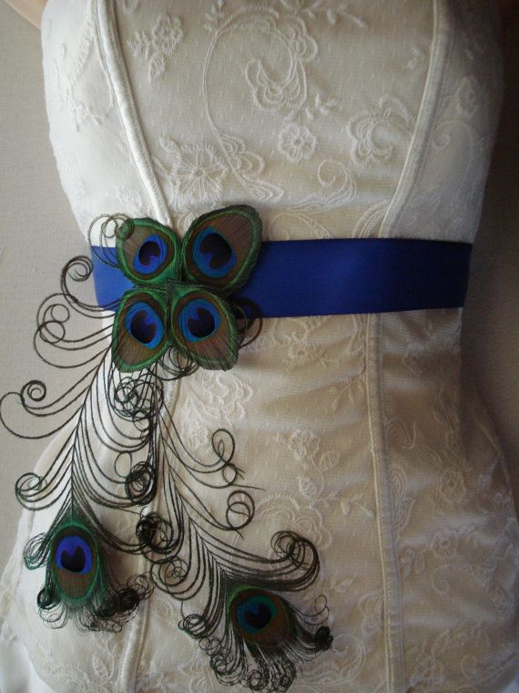 peacock wedding bridal sash or belt peacock feather sash