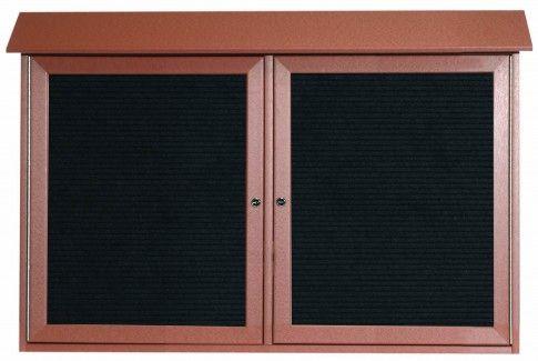 PLD3045-2L-5. Cedar Two Door Hinged Door Plastic Lumber Message Center with Letter Board. 30″ High x 45″ Wide
