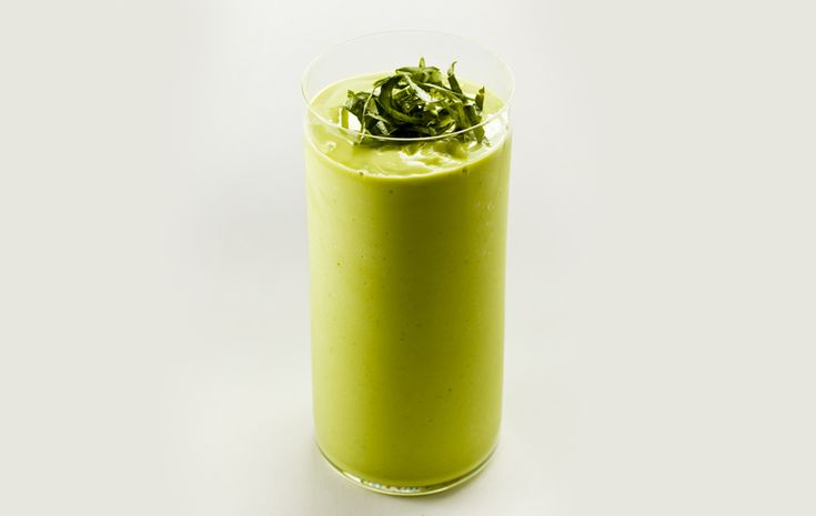 Basil and lime juice add zest to this healthy but decadent morning avocado smoothie recipe.