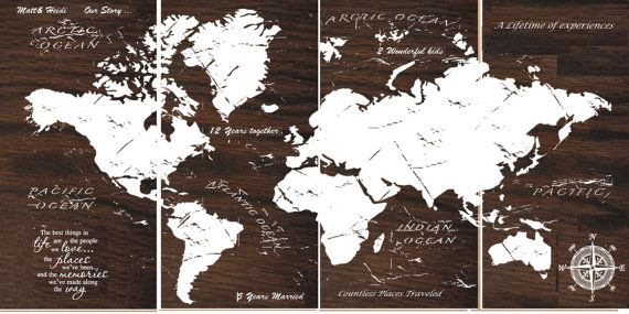 Custom World Push Pin Travel Map Cork Board • Wedding Gift • Anniversary Gift • Graduation Gift for Him / Her • Wedding Guest Book  Print includes (4) approx. 12 by 24 rectangle panels Overall dimensions of finished art is 24 Tall X 48 Wide Panels are approx. 3/4 thick Natural pine wood panels All panels were stained with Dark Walnut stain, then printed with black ink.  **** Custom text area is 4 Tall by 12 wide ************* We can write anything that will fit into this size space.    •…