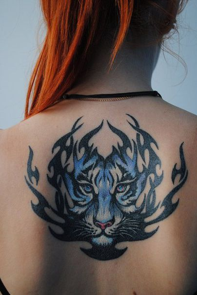 Flame blue tiger back tribal tattoo