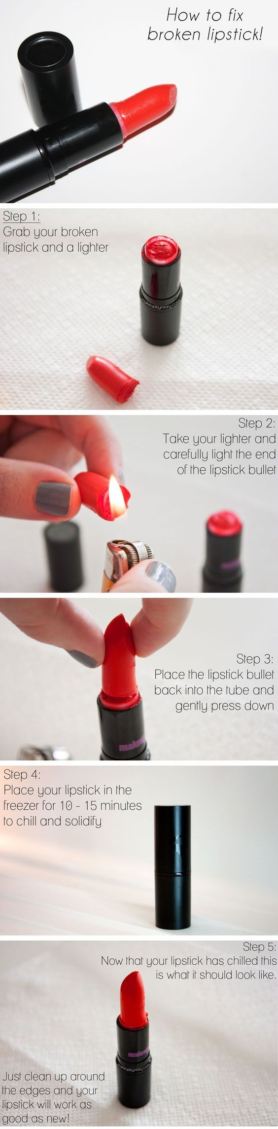 How to Fix Broken Lipstick | Click Pic for 25 Simple Life Hacks Every Girl Should Know | DIY Beauty Hacks Every Girl Should Know DIY beauty #diy: