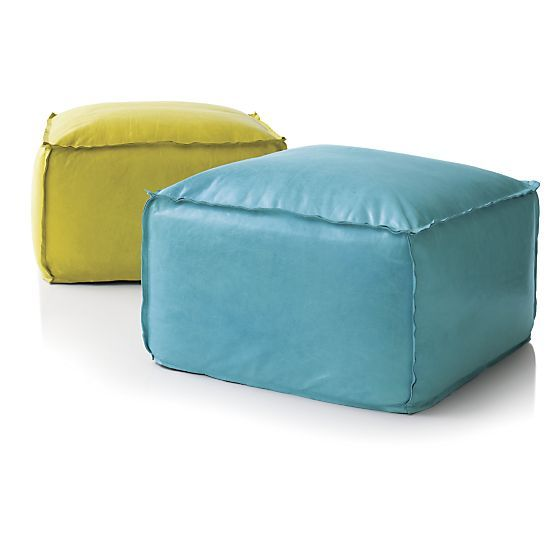 Zuni leather pouf in new furniture crate and barrel for Crate and barrel pouf