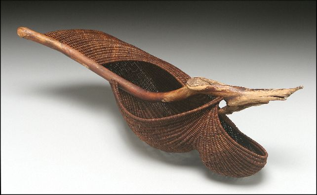 ''Flow 2'' sculptural basket / stained reed with driftwood / 12''h x 21''w x 8''d / Deborah Smith