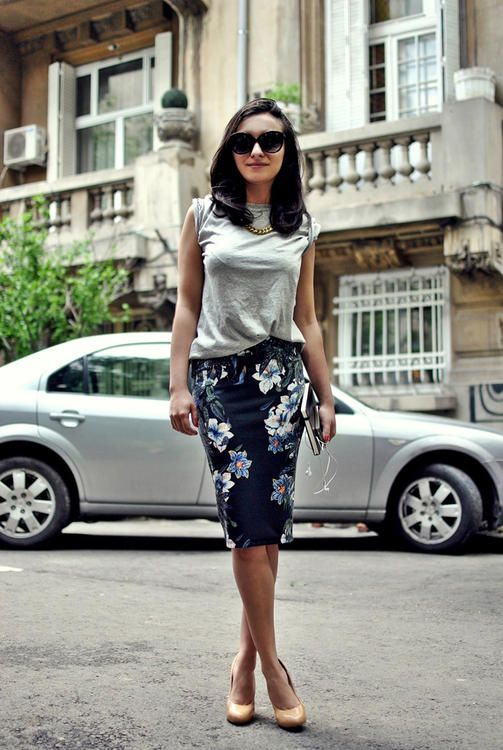Grey T + Floral Pencil Skirt