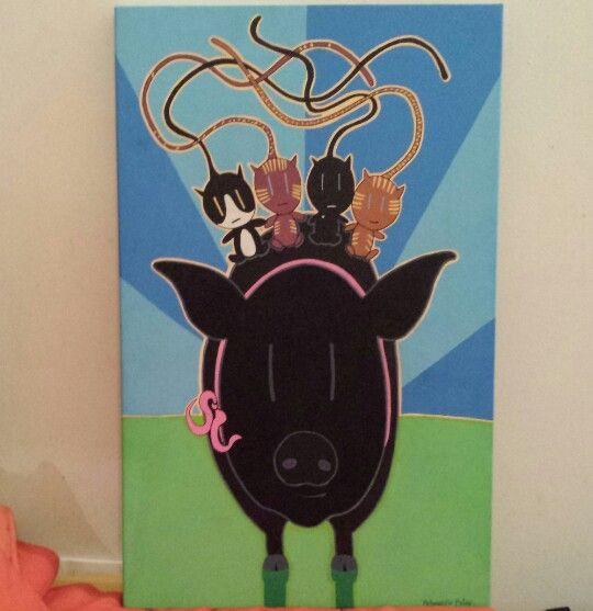 Piggy and cats for Maira...by www.rancio.es #art #posca #pig #cats #paintings