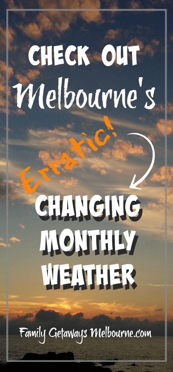 Melbourne's weather can be quite erratic at times. Known as the '4 seasons in one day' city, you always have to be prepared for a change in weather conditions. Click the image to discover the different conditions for each month of the year.