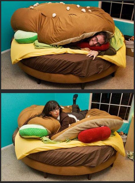 It's a hamburger bed! How ironic would it be if I got one of  these....(; vegetarian life.