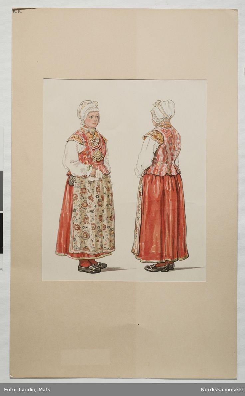Festdräkt för gift kvinna Unnaryds socken, Småland. Akvarell av Emelie von Walterstorff. (E.v.Walterstorff). @ DigitaltMuseum.se