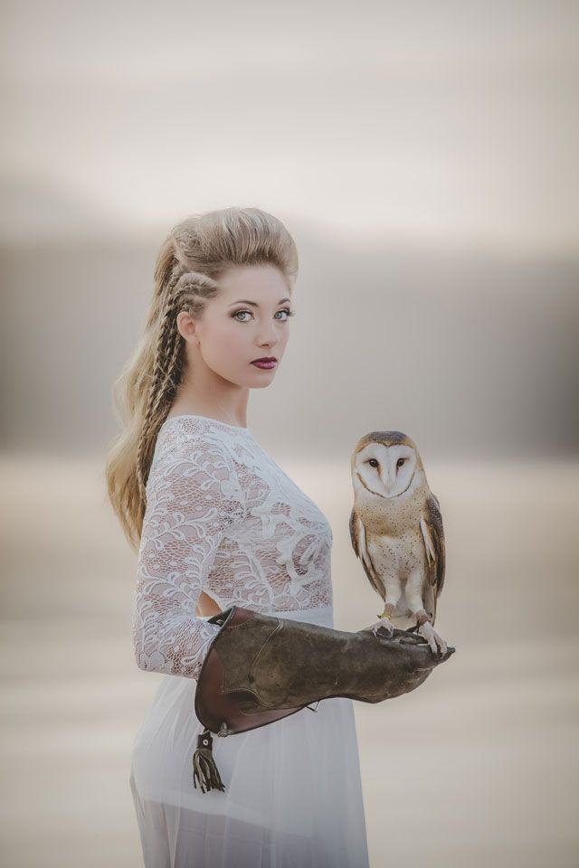 A moody and minimalist Viking wedding inspiration shoot with a white barn owl by Amber Cather Photography