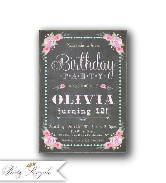 141 best girls birthday invitations images on pinterest birthday girls birthday invitations 12th birthday invitation filmwisefo Image collections