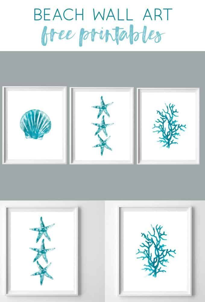 Beach Wall Art Free Turquoise Watercolor Beach Printables With
