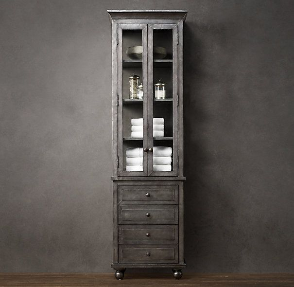 Zinc tall bath cabinet furniture pinterest for Restoration hardware bathroom cabinets