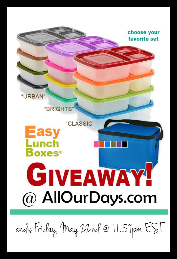 Easy Lunchboxes Giveaway @ AllOurDays.com Win a set of lunchboxes and an insulated cooler. Giveaway ends May 22nd at 11:59 PM EST.
