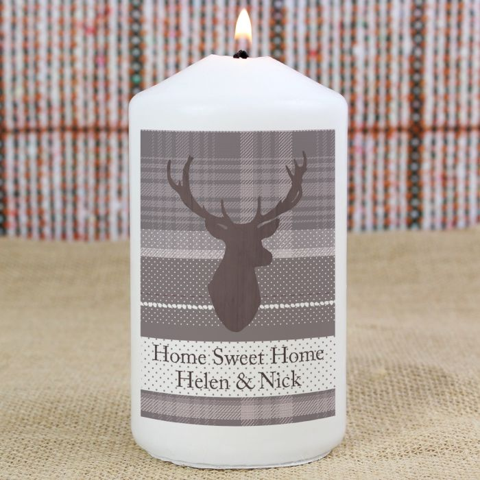 Personalised Highland Stag Candle This Highland Stag Candle comes in an organza bag and can be personalised with 2 lines of text with up to 20 characters per line. £9.99