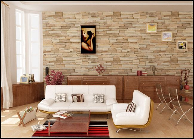 Amazing Brick Walls In Simple Living Room Decoration
