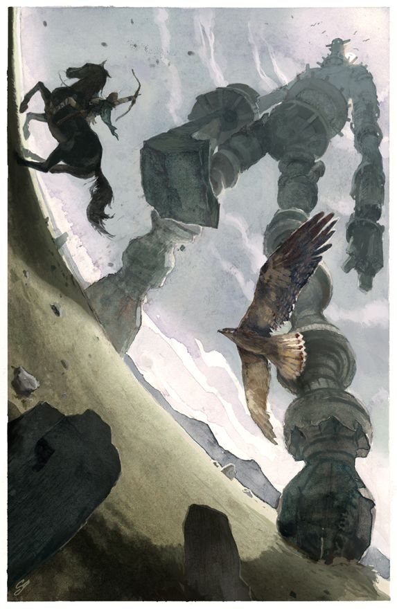 An illustration inspired by the classic video game, Shadow of the Colossus by Chad Gowey. #videogames