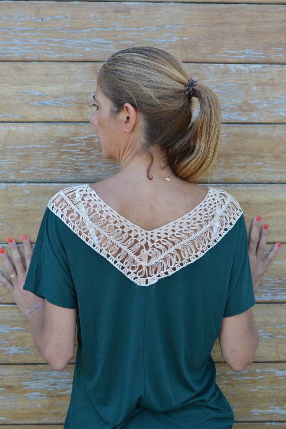 Handmade crochet lace tshirt in green & cream / by SophieCRO
