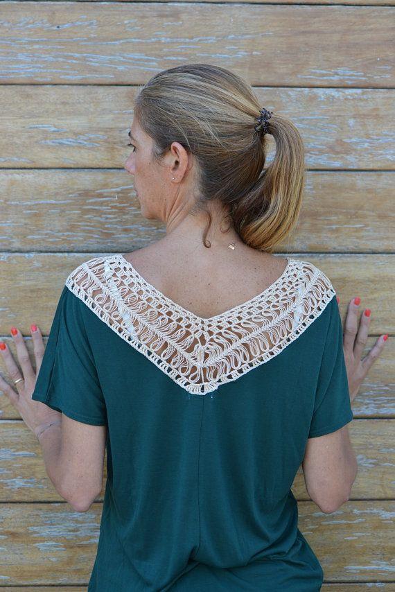 Handmade crochet lace tshirt in green & cream / by SophieCRO