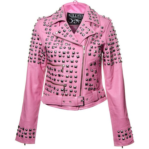 Killstar Studded Leather Jacket (Pink) ($350) ❤ liked on Polyvore featuring outerwear, jackets, pink jacket, genuine leather jacket, real leather jacket, studded jacket and kill star
