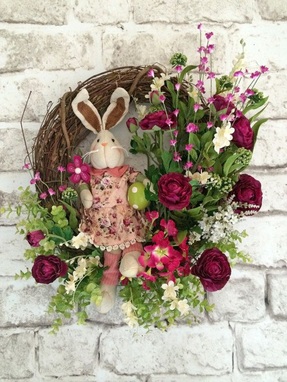 Hey, I found this really awesome Etsy listing at https://www.etsy.com/listing/179549917/easter-bunny-wreath-easter-wreath-rabbit
