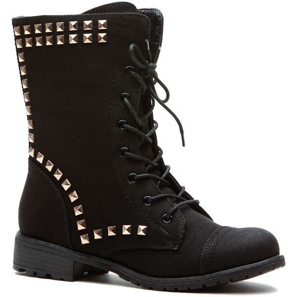 CiCiHot Black Stud Queen Faux Leather Lace Up Combat Boots (£22) ❤ liked on Polyvore featuring shoes, boots, ankle booties, leather lace up booties, lace up boots, military boots, black studded booties and black lace up booties