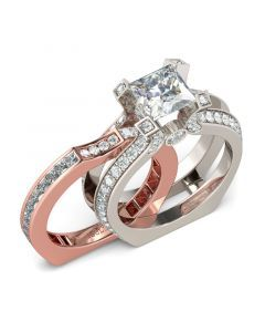 31ce28c0c7154 Interchangeable Two Tone Princess Cut Sterling Silver Ring Set in ...