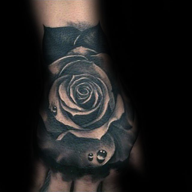 Realistic Black Rose With Water Droplets Mens Hand Tattoos
